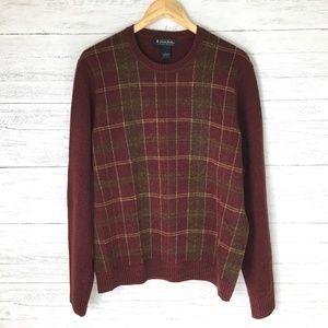 Brooks Brothers Men's Burgundy Plaid Wool Sweater